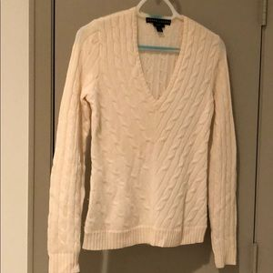 🍎Ralph Lauren Cream Cable Knit V Neck Sweater